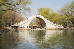 Asian Chinese, Beijing, the Summer Palace, the scenery and the stone bridge Royalty Free Stock Photography