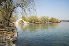Asian Chinese, Beijing, the Summer Palace, the scenery and the stone bridge Stock Photo