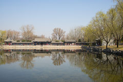Asian Chinese, Beijing, the Summer Palace, the scenery and the stone bridge Royalty Free Stock Photo