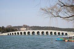Asian Chinese, Beijing, the Summer Palace, seventeen hole  bridge Stock Photos