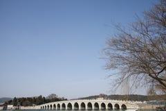 Asian Chinese, Beijing, the Summer Palace, seventeen hole  bridge Royalty Free Stock Image