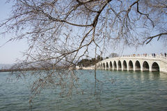 Asian Chinese, Beijing, the Summer Palace, seventeen hole  bridge Royalty Free Stock Image