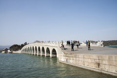 Asian Chinese, Beijing, the Summer Palace, seventeen hole  bridge Royalty Free Stock Photography