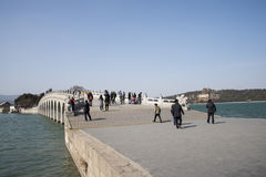 Asian Chinese, Beijing, the Summer Palace, seventeen hole  bridge Royalty Free Stock Photos
