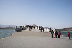 Asian Chinese, Beijing, the Summer Palace, seventeen hole  bridge Royalty Free Stock Photo