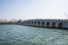 Asian Chinese, Beijing, the Summer Palace, seventeen hole  bridge Stock Image