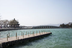 Asian Chinese, Beijing, the Summer Palace, seventeen hole bridge Stock Images