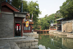 Asian Chinese, Beijing, the Summer Palace, Suzhou Street, antique buildings Stock Image