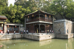 Asian Chinese, Beijing, the Summer Palace, Suzhou Street, antique buildings Royalty Free Stock Photos