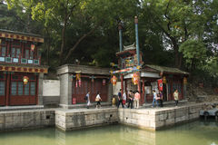 Asian Chinese, Beijing, the Summer Palace, Suzhou Street, antique buildings Royalty Free Stock Images