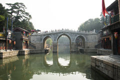 Asian Chinese, Beijing, the Summer Palace, the three hole  long bridge Royalty Free Stock Image