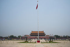 Asian Chinese, Beijing, The Tian'anmen Rostrum, the national flag pole Stock Photography