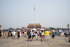 Asian Chinese, Beijing, The Tian'anmen Rostrum, the national flag pole Royalty Free Stock Photo