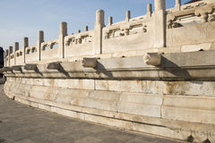 Asian Chinese, Beijing,  Tiantan Park,The hall of prayer for good harvests, white marble railings, Royalty Free Stock Photo