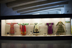 Asian Chinese, Beijing, women and children's Museum,  Indoor exhibition hall,China women's national costume. China women and children's Museum, is our country Royalty Free Stock Photography
