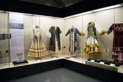 Asian Chinese, Beijing, women and children's Museum,  Indoor exhibition hall,China women's national costume Royalty Free Stock Photography