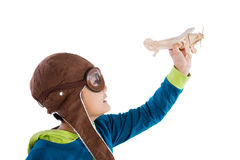 Asian Chinese Boy Playing with Wooden Airplane Stock Images