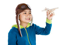 Asian Chinese Boy Playing with Wooden Airplane Royalty Free Stock Photography