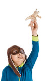 Asian Chinese Boy Playing with Wooden Airplane Stock Photo