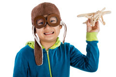 Asian Chinese Boy Playing with Wooden Airplane Stock Image