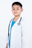 Asian Chinese boy pretending as doctor Royalty Free Stock Photography