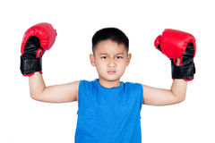 Asian Chinese boy wearing boxing gloves with victory Stock Images