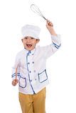 Asian Chinese Boy in White Chef Uniform Holding Baking Tools Stock Photos