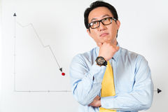 Asian Chinese Business Manager presenting forecast. Asian Chinese Business Manager or employee presenting negative economic forecast or statistic or graph on a Royalty Free Stock Photos