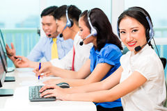 Asian Chinese call center agent team Royalty Free Stock Photos