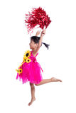 Asian Chinese cheerleader girl holding a pompom. In isolated white background Stock Images