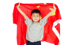 Asian Chinese Child with China Flag. In Isolated White Background Stock Photo