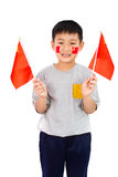 Asian Chinese Child with China Flag. In Isolated White Background Royalty Free Stock Photo