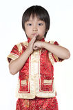 Asian chinese children. Happy Chinese new year.The boys congratulate with the Chinese New Year, isolated on white background Stock Photos