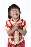Asian chinese children. Happy Chinese new year.The boys congratulate with the Chinese New Year, isolated on white background Stock Image