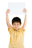 Asian Chinese Children Holding blank white board. Royalty Free Stock Photography