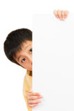 Asian Chinese Children Holding blank white board. Stock Image