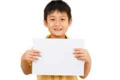 Asian Chinese Children Holding blank white board. Asian Chinese Little Boy Holding blank white board Stock Photography