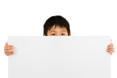 Asian Chinese Children Holding blank white board. Stock Photo