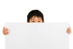 Asian Chinese Children Holding blank white board. Asian Chinese Little Boy Holding blank white board Stock Photo