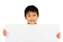 Asian Chinese Children Holding blank white board. Stock Photos