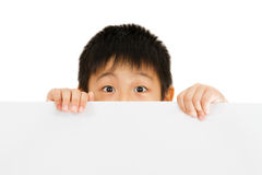 Asian Chinese Children Holding blank white board. Asian Chinese Little Boy Holding blank white board Stock Images