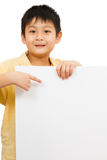 Asian Chinese Children Holding blank white board. Asian Chinese Little Boy Holding blank white board Royalty Free Stock Photos