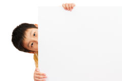 Asian Chinese Children Holding blank white board. Royalty Free Stock Images