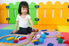 Asian Chinese children playing with blocks Stock Image