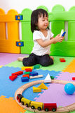 Asian Chinese children playing with blocks Stock Images