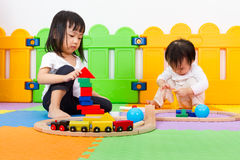 Asian Chinese childrens playing with blocks Stock Image