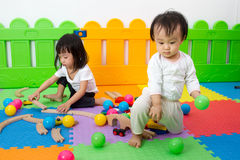 Asian Chinese childrens playing with blocks Royalty Free Stock Image