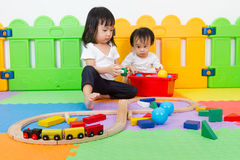 Asian Chinese childrens playing with blocks Royalty Free Stock Images