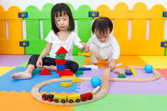 Asian Chinese childrens playing with blocks Stock Photos