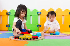 Asian Chinese childrens playing with blocks Stock Images